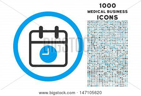 Date and Time rounded glyph bicolor icon with 1000 medical business icons. Set style is flat pictograms, blue and gray colors, white background.