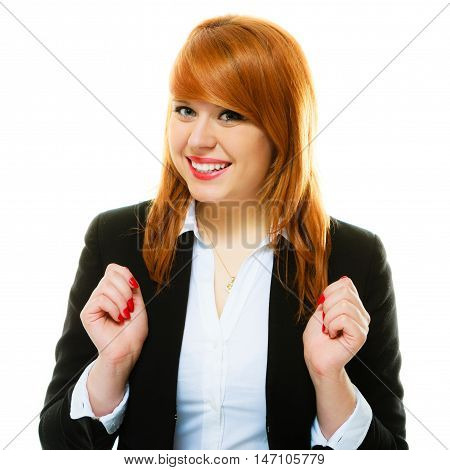 Portrait of beauty redhair toothy smiling business woman or student girl. Isolated on white background