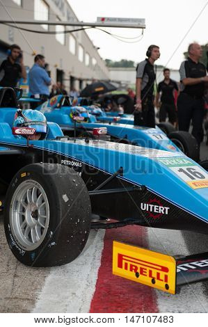 Vallelunga, Rome, Italy. September 10Th 2016. Formula 4 Championship, Cars In Pit Lane
