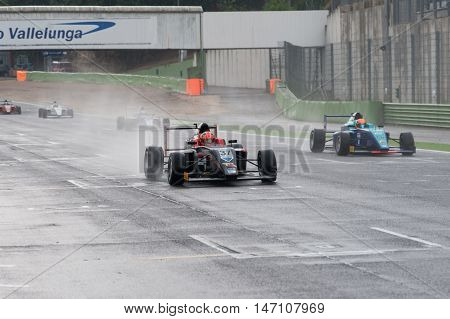 Vallelunga, Rome, Italy. September 10Th 2016. Formula 4 Championship,  Cars Under The Rain