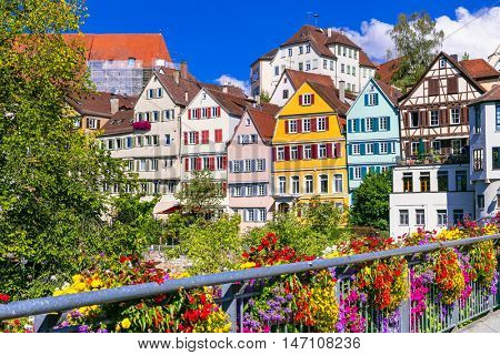 Floral colorful town Tubingen in Germany (Baden-Wurttemberg)