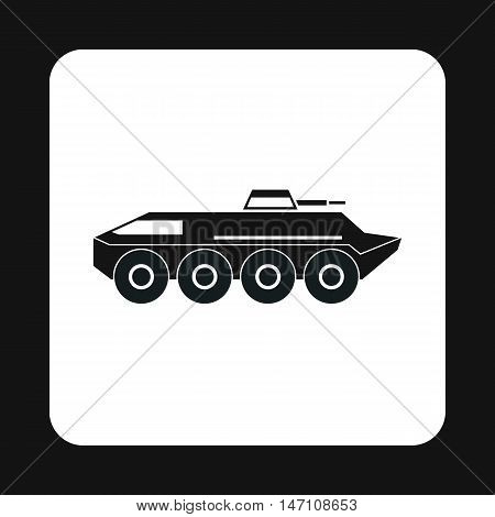 Armoured troop carrier wheeled icon in simple style on a white background vector illustration