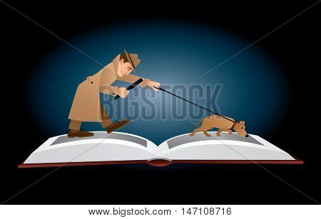 Vector illustration. A male detective in a beige hat and coat walking on the pages of an open book with magnifying glass and his search dog following a trace. Horizontal format, dark blue background.