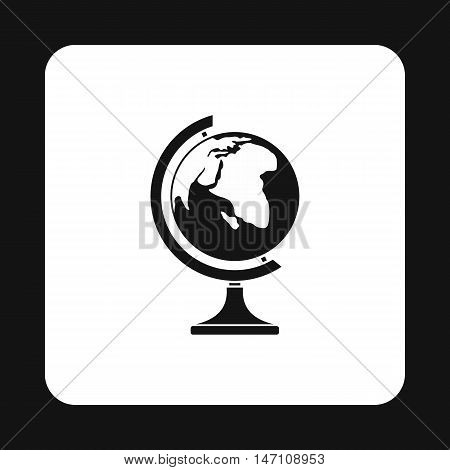Terrestrial globe icon in simple style on a white background vector illustration