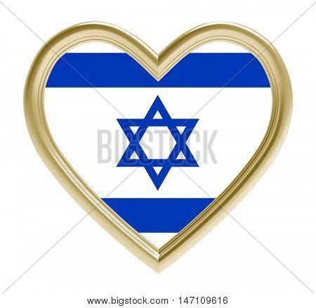 Israeli flag in golden heart isolated on white background. 3D illustration.