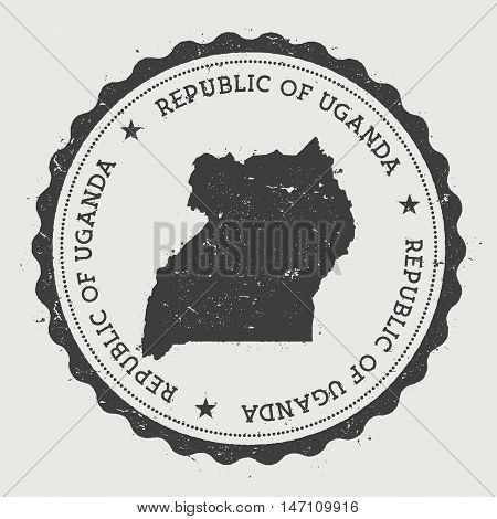 Uganda Hipster Round Rubber Stamp With Country Map. Vintage Passport Stamp With Circular Text And St