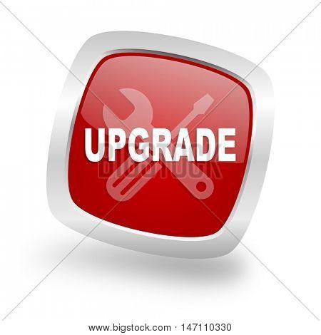upgrade square glossy red chrome silver metallic web icon