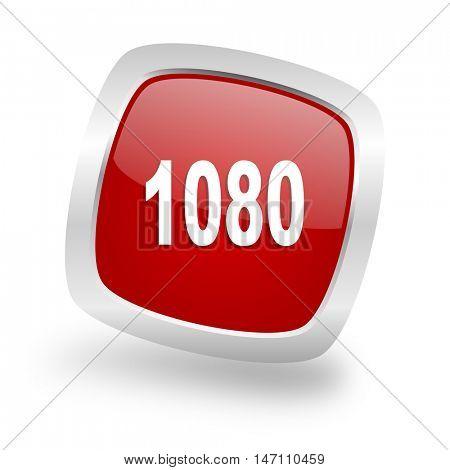 1080 square glossy red chrome silver metallic web icon