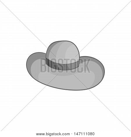 Womens beach hat icon in black monochrome style isolated on white background. Headdress symbol vector illustration
