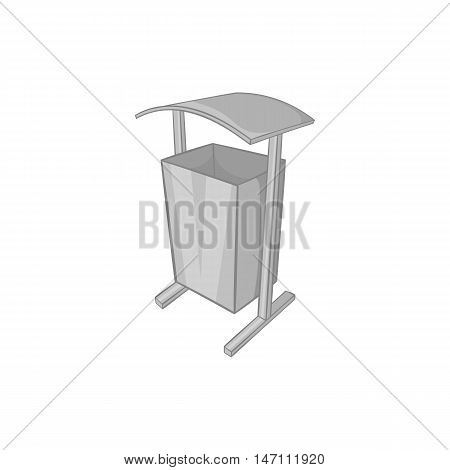 Dustbin for public spaces icon in black monochrome style isolated on white background. Garbage symbol vector illustration