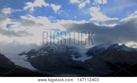 A sunset over the Columbia Icefield, Jasper, Alberta.
