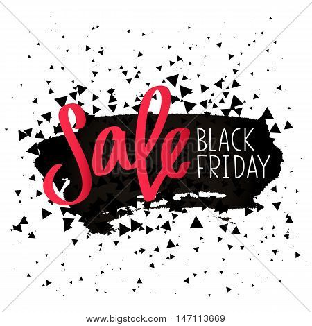Black Friday. Sale. Trend calligraphy. Vector illustration on white background with a smear of ink black.