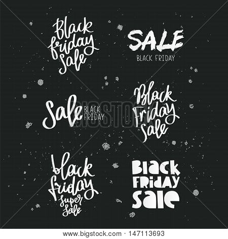 Set quotes on Black Friday. Trend calligraphy. Vector illustration on a black background.