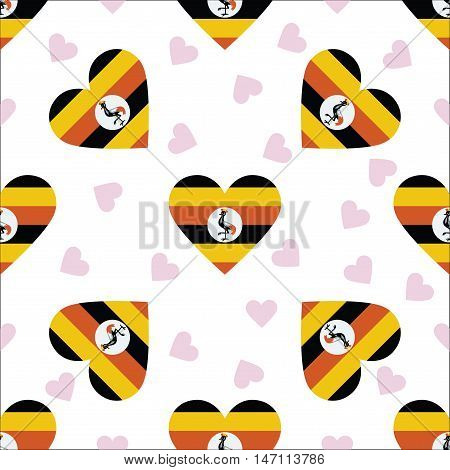 Uganda Independence Day Seamless Pattern. Patriotic Background With Country National Flag In The Sha