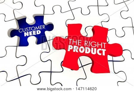 Customer Need Best Right Product Puzzle 3d Illustration