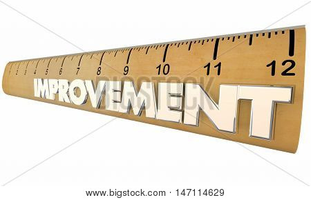 Improvement Process Measurement Metrics Ruler 3d Illustration
