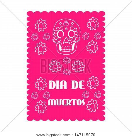 Mexican banner, mexico. Dia de Muertos - Mexican Day of the death spanish text decoration.