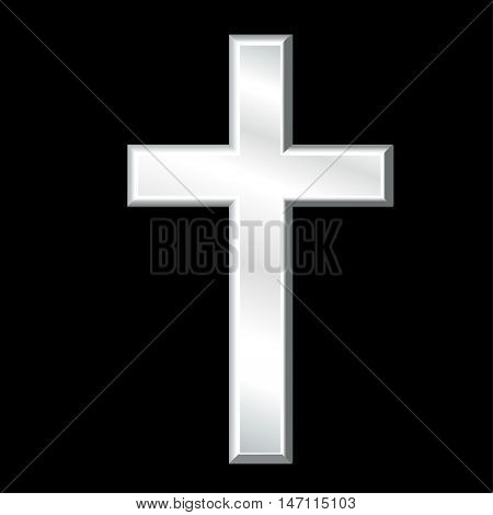 Christian Cross, silver crucifix, symbol of Christianity religion and faith, isolated on a black background.