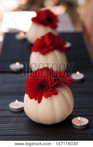 Red gerbera daisies in carved white Casper pumpkins on a black table setting with white candles at the holidays.