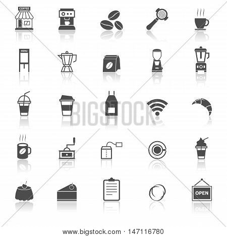 Coffee shop icons with reflect on white background, stock vector