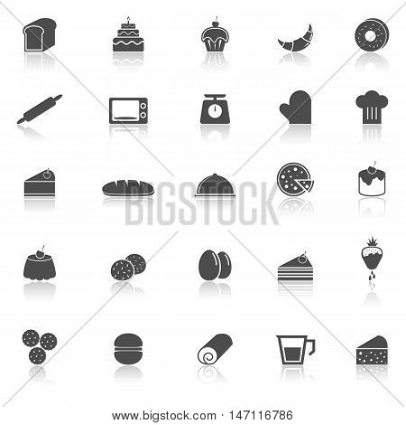 Bakery icons with reflect on white background, stock vector