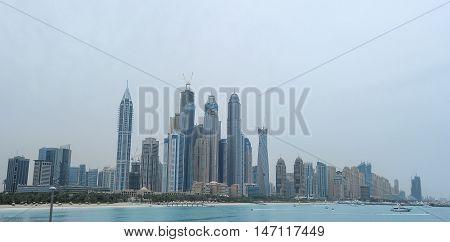 Dubai skyscrapers. Dubai Marina panoramic view skyline cityscape. Dubai is the fastest growing city in the world.