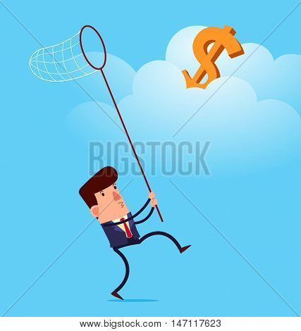 young businessman trying to reach success  vector illustration for various business concept