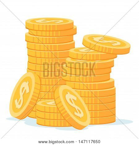 stack of gold coins vector illustration for various business consept