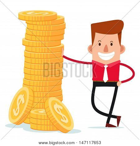 young businessman get a pose with stack of coins