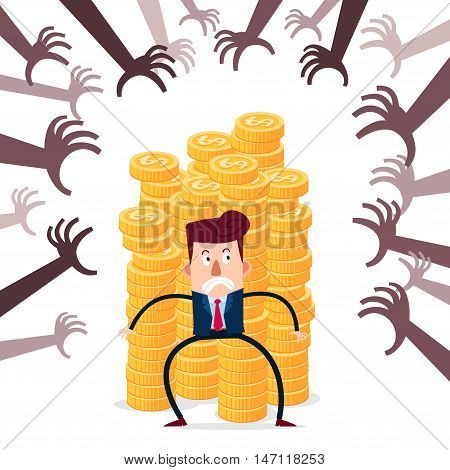 successful businessman guarding stack of gold coins from various financial threat