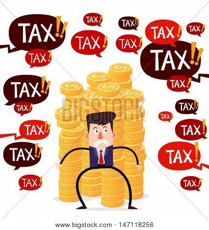 successful businessman guarding stack of gold coins from tax menace