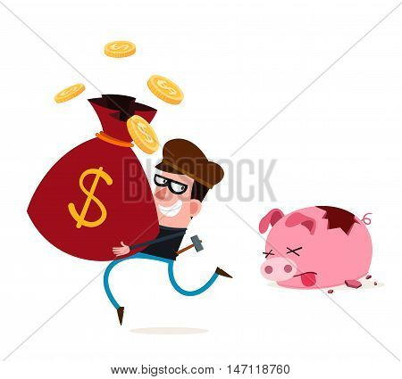 tricky thief stealing money from piggy banks