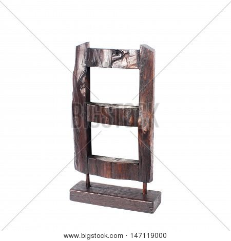 Vintage picture frame wood plated white background