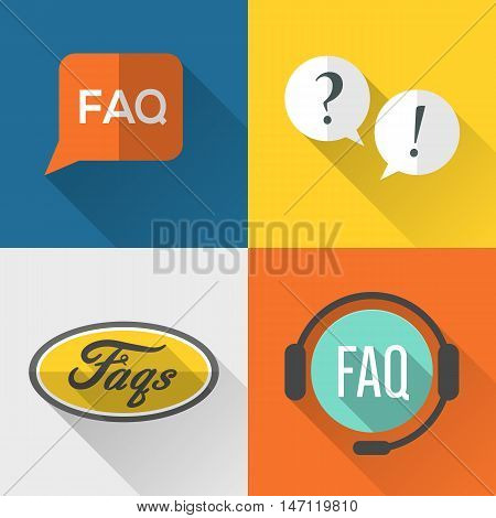 FAQ (frequently asked questions) icons set flat design