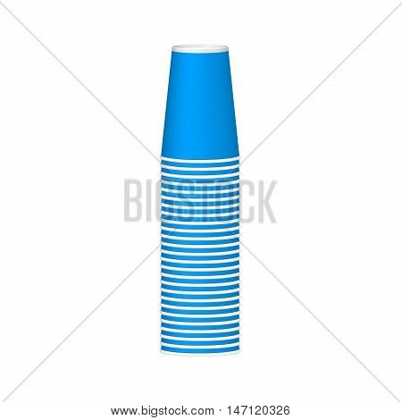 Stack of cups in blue design on white background