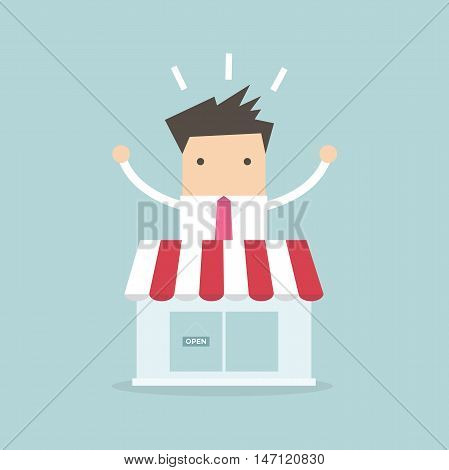 Businessman standing behind the shop vector illustration
