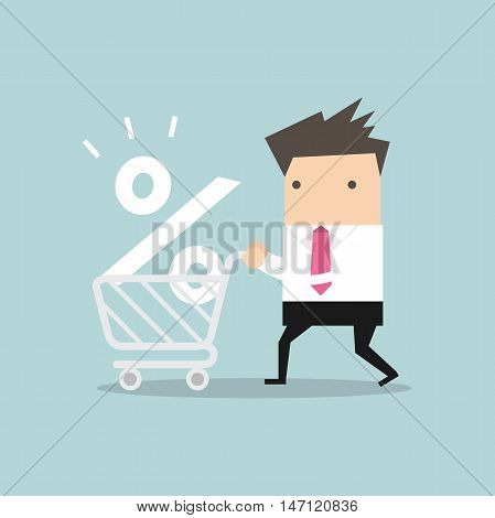 Interest Rate Shopping, Businessman shopping for a good interest rate percentage.