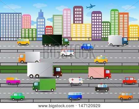 illustration of a peak traffic hour on side of divided highway
