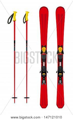 Touring set, skiing equipment: skis and poles in flat style.