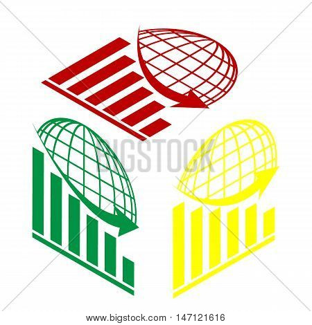 Declining Graph With Earth. Isometric Style Of Red, Green And Yellow Icon.