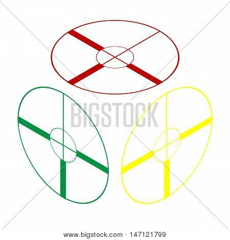 Sight Sign Illustration. Isometric Style Of Red, Green And Yellow Icon.