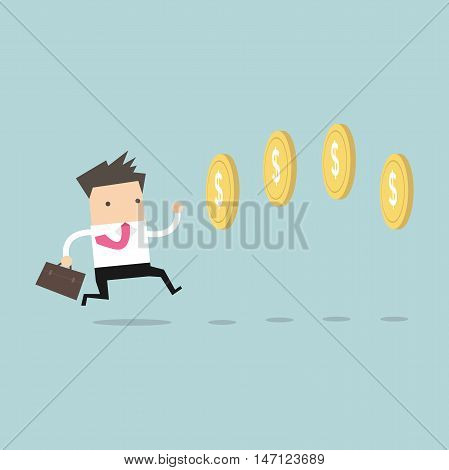 Businessman chasing coins video game style. Vector poster
