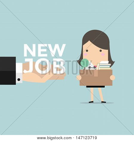 Businesswoman holding a box with hand offering a new job. vector