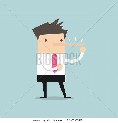 Lying businessman with long nose vector illustration
