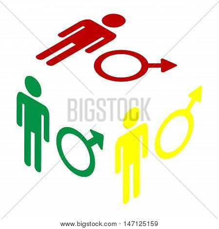 Male Sign Illustration. Isometric Style Of Red, Green And Yellow Icon.