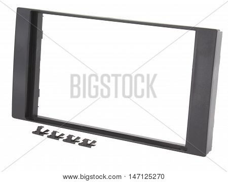 Car navigation double DIN frame, isolated on white