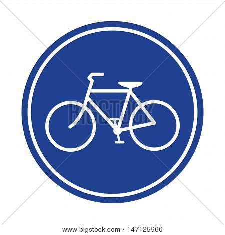 Blue Bicycle lane sign isolated vector illustration