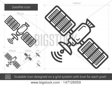 Satellite vector line icon isolated on white background. Satellite line icon for infographic, website or app. Scalable icon designed on a grid system.
