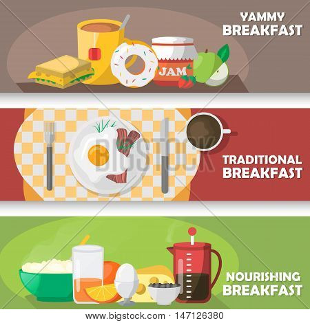 Breakfast horizontal banners set with yummy pastry and tea traditional eggs dish nourishing meal isolated vector illustration