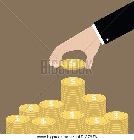 Hand put coin to money staircase. Profit. Making money. For business and finance concept vector.